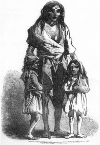 Irish Famine Victim Brigid O'Donnel and starving children