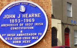 Plaque to John J Hearne in his home town of Waterford