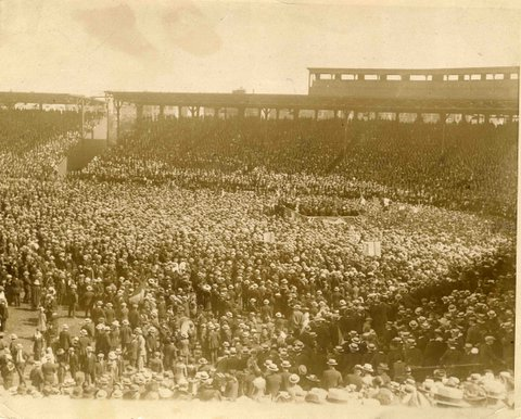 Huge crowd saw De Valera. This is Fenway Park Boston