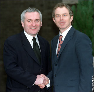 Tony Blair with Bertie Ahern