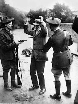 Civilian questioned by Black and Tans