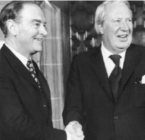 Taoiseach Liam Cosgrove and PM Ted Heath after signing of Agreement