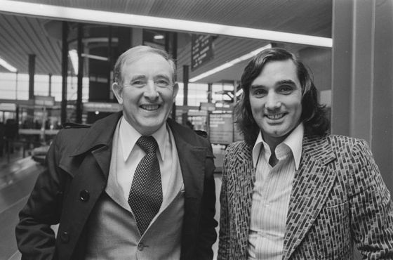 Danny Blanchflower with fellow soccer great George Best