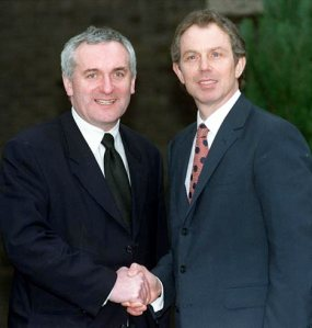 Taoiseach Bertie Ahern and PM Tony Blair following Good Friday Agreement