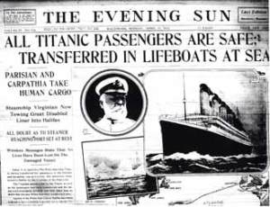 Titanic newspaper report Passengers saved