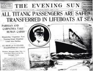 Titanic newspaper report Passengers saved